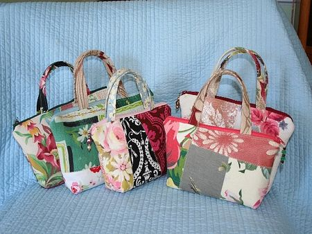 Collection of vintage fabrics jewelry organizer travel totes (2)