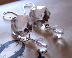 Antique chandelier salvage crystal prism earrings1