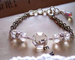 Antique chandelier salvage crystal prism bracelet1