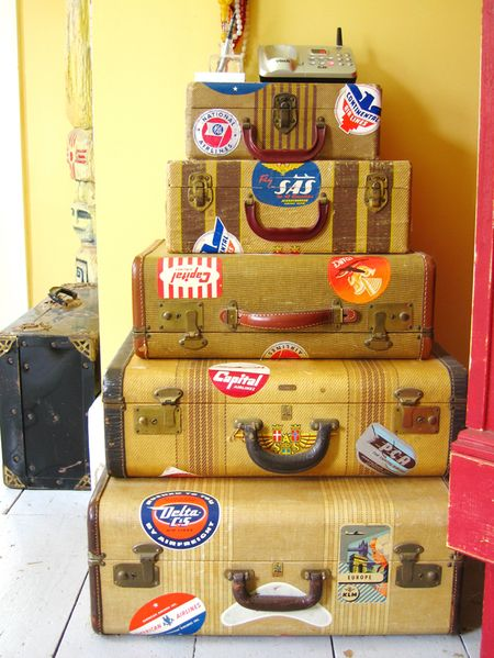 Living room suitcase stack