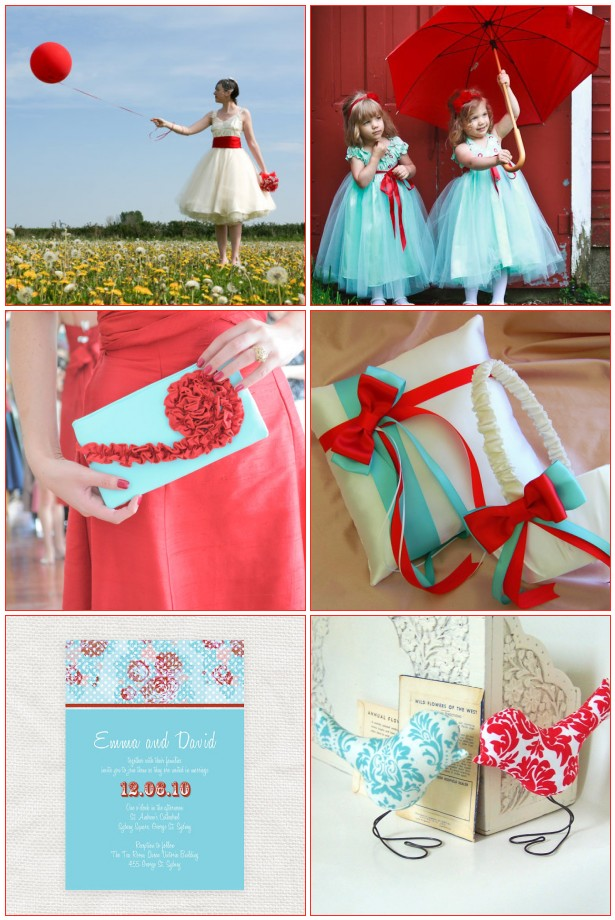 Top Left 50s Style Wedding Dress from LizzieJayne Top Right Blue Flower