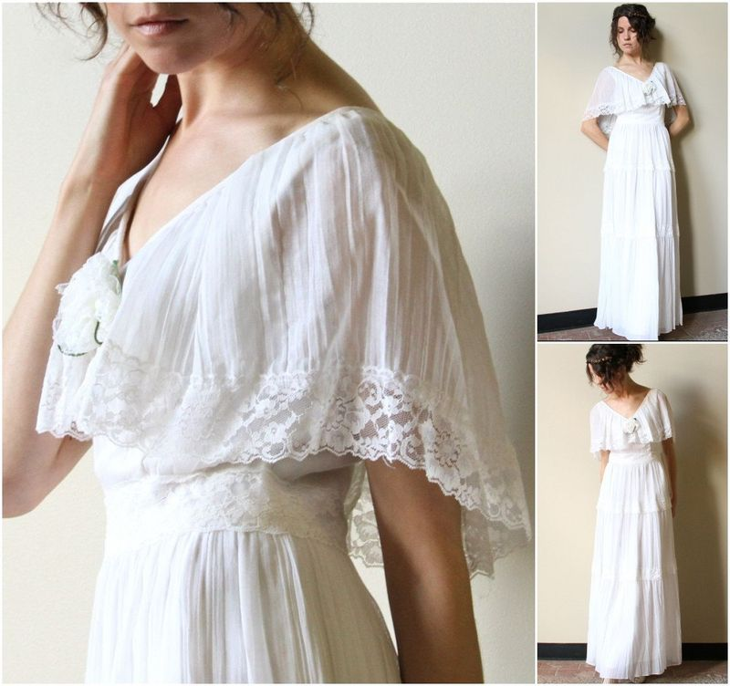 Indie Weddings Month 2012 Vintage 70s Hippie Wedding Gown from Factory