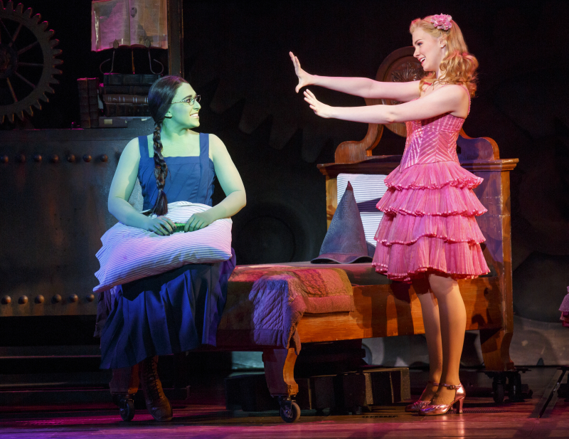Jessica Vosk as Elphaba and Ginna Claire Mason as Glinda. Photo by Joan Marcus