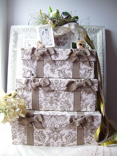 Vintage Embellished Wedding Cake Card Boxes Recreated Vintage Cake Toppers