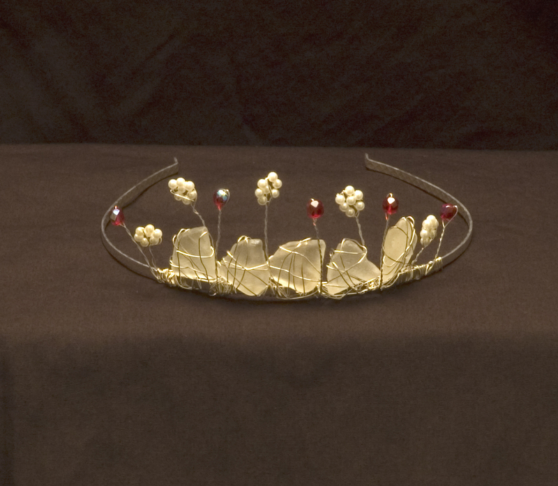 I create bridal tiaras and headbands from carefully chosen sea glass